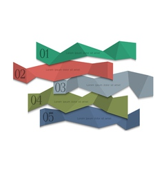 Origami paper numbered banners vector image vector image