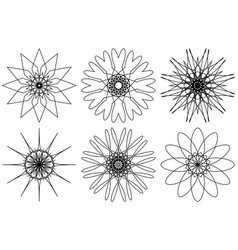spirograph design elements isolated on white vector image vector image