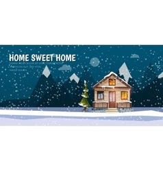 Sweet family home among mountains A winter banner vector image vector image