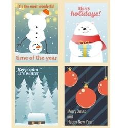 Winter postcards set vector image vector image
