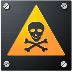 brushed metal grunge skull sign with bolts detaile vector image