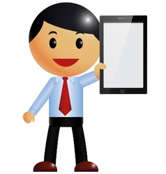 Businessman and smart phone vector image