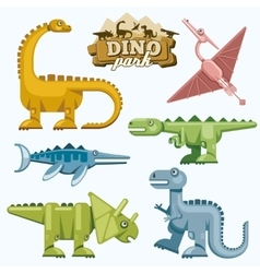 Dinosaur and prehistoric animals flat icons set vector