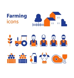 Farming products icons set farm house fruit vector