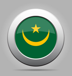 flag of mauritania shiny metal gray round button vector image vector image