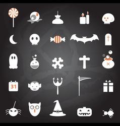 halloween icons set chalkboard vector image vector image