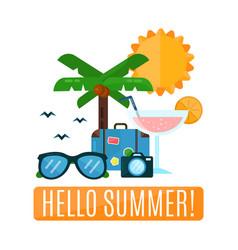 hello summer concept card flat vector image vector image