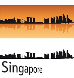Singapore skyline in orange background vector image vector image