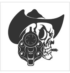 Skull In Cowboy Hat And Gun vector image