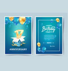 17th years birthday invitation double card vector
