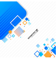 Abstract geometric blue and orange color square vector