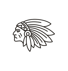 american native indian chief headdress line art vector image