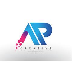 Ap letter design with creative dots bubble vector