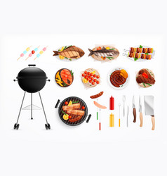 Bbq grill party set vector