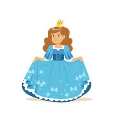 Beautifull little girl princess in a blue ball vector