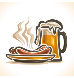 beer and sausages vector image vector image