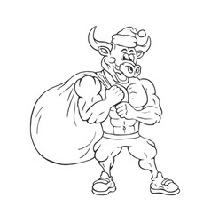 black and white a strong muscular cartoon bull vector image
