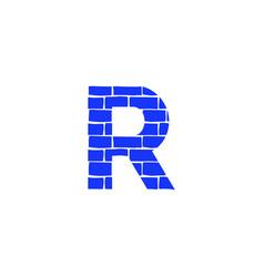 Brick logo letter r vector