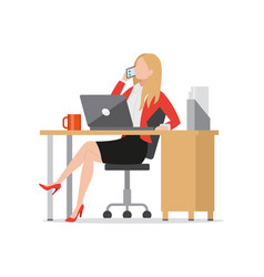 Busy businesswoman talking on phone flat style vector