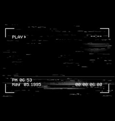 Camera film screen with glitch effect vhs vector