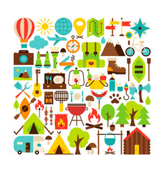 Camping isolated objects big set vector