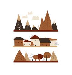 cartoon autumn landscape with housesmountains vector image