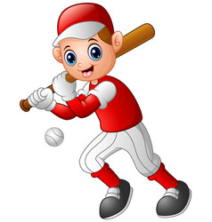 Cartoon boy playing baseball vector