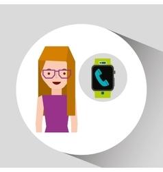 Cartoon girl smart watch app telephone vector