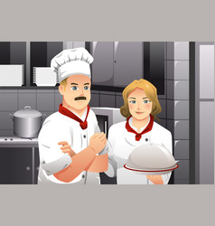 chef holding a plate of food vector image