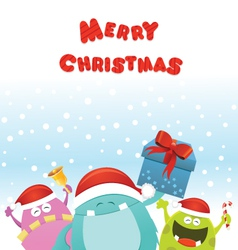Christmas Monsters Card vector image