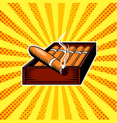 Cigar box pop art vector
