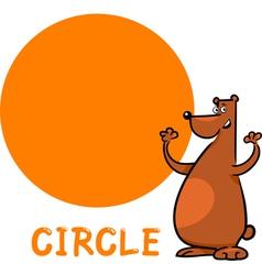 Circle shape with cartoon bear vector