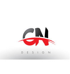 Cn c n brush logo letters with red and black vector