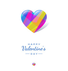 color crystal glossy hearts valentines post card vector image