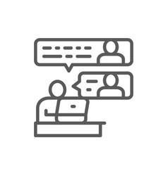 Communication between team members line icon vector