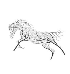 Concept horse jumping stylized bush for use on vector
