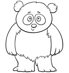 Cute baby panda cartoon coloring book page vector