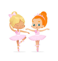 Cute caucasian ballerina child dancing couple vector