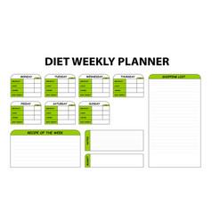 Cute diet weekly planner isolated food menu plan vector