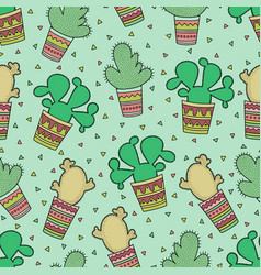 cute seamless pattern with cactuses vector image