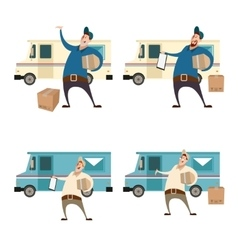 Delivery servis with boxes and cars vector image