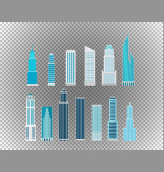 Different city skyscrapers isolated on vector