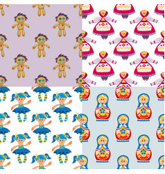 different dolls toy character game dress seamless vector image