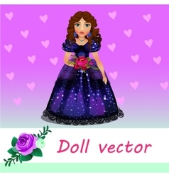 Doll Princess in blue evening dress with flower vector
