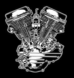 engine motorbike american black vector image