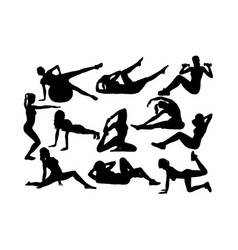 exercise gym and fitness activity silhouettes vector image