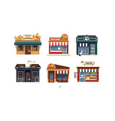 Facades of various shops set bakery fast food vector