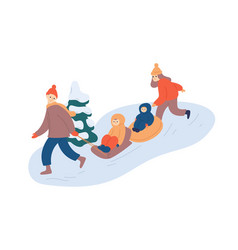 family sledging fun flat vector image