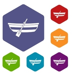 Fishing boat icons set vector