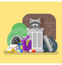 flat style of trash with raccoon Spoiled food vector image
